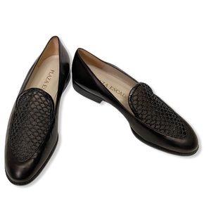 Vintage NIB Plaza Escada Black Mesh Loafers Sz 8.5